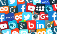 social media icons piled up on top of each other
